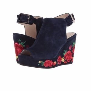 Kenneth Cole Orla Blue Suede Floral Wedge